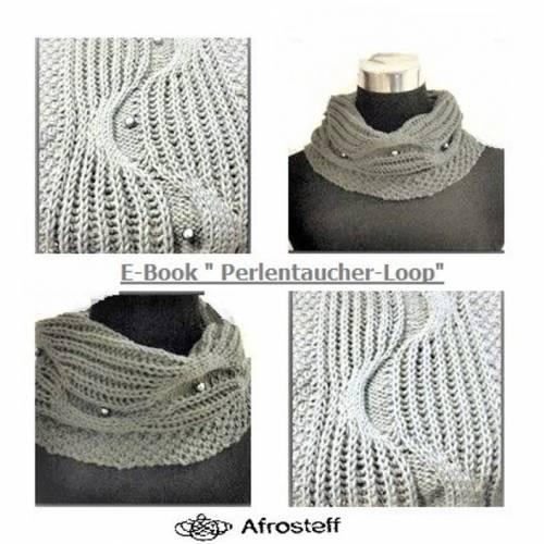 """Strickanleitung Loop """"Perlen Taucher""""/ Strickloop, Strickschal, Wollschal, Loop gestrickt,Loop mit Perlen, Schlauchschal mit Perlen"""
