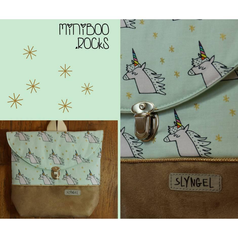 Kinderrucksack mit Namen, Kindergartenrucksack, Kindergartentasche, Geschenke für Mädchen, Rucksack mit Einhörner und goldener Paspel, Stern Bild 1