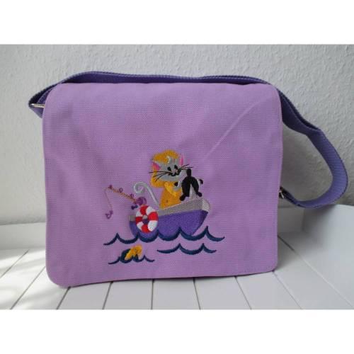 Kindergartentasche - flieder - Katze fährt Boot