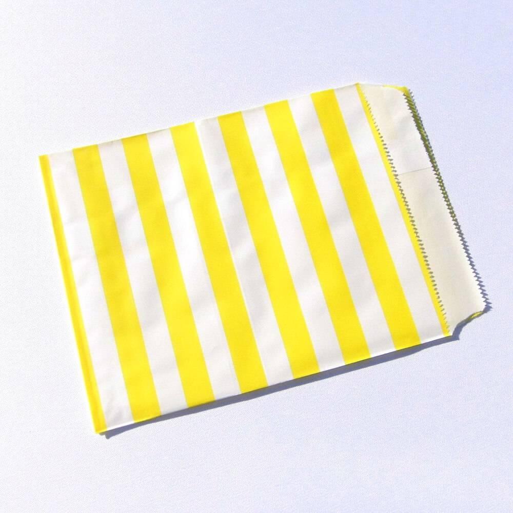 Flachbeutel gelb weiß gestreifte Papiertüte Tütchen  Bild 1