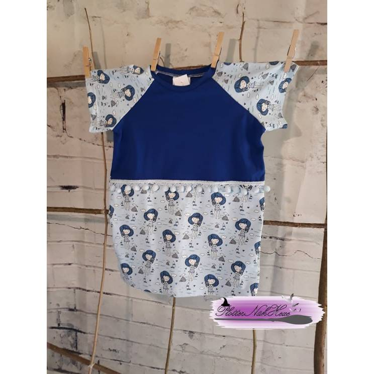 Tshirt Raglanshirt Gr. 110 blau aus Baumwolljersey maritim Mädchen Bild 1