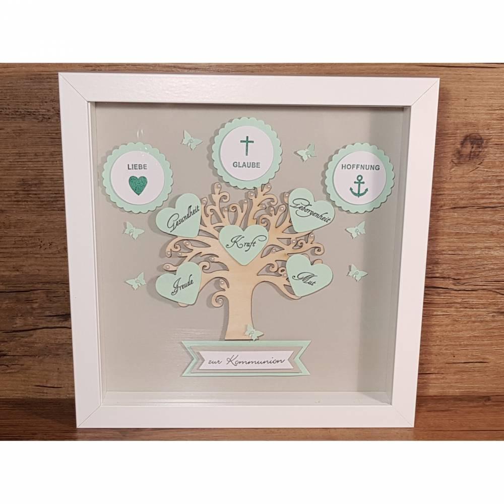 Kommunionsgeschenk, Bilderrahmen, Lebensbaum zur Kommunion, Junge, originelles Geschenk zur Kommunion Bild 1