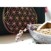 Augenkissen, Entspannung, Meditation, Wellness, Blume des Lebens, Lavendel, Leinsamen, Wellbeing, Schwarz, Bunt, Stickerei, Bild 1