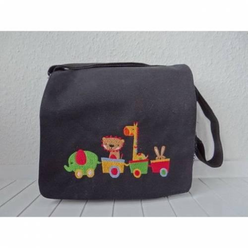 Kindergartentasche - schwarz - Zug mit Tieren