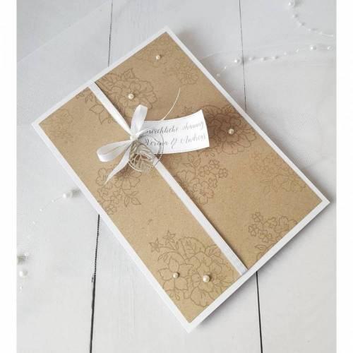 Kirchenheft Programmheft Hochzeit Taufe Kraftpapier Blumen Perlen