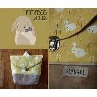 Kinderrucksack mit Namen, Kindergartenrucksack, Kindergartentasche, Geschenke für Mädchen, Rucksack mit Hasen und Blumen, personalisierbar Bild 1