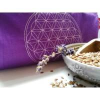Augenkissen, Entspannung, Meditation, Wellness, Blume des Lebens, Lavendel, Leinsamen, Wellbeing, Lila, Flieder, Stickerei, Bild 1