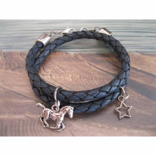 Kinderarmband, Mädchen Lederarmband blau / grau, mit Anhänger Pferd und Stern 3- S
