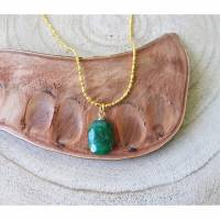 Anhänger Smaragd. Mit Kette Gold Filled 18K - Echte Natürliche Edelstein - Handarbeit - Fair Trade - Kostenloser Versand
