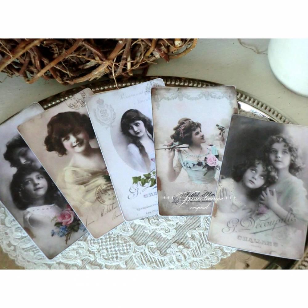 Schönes 5-er Postkarten / Grußkarten Set mit wunderschönen, alten Vintage Motiven Bild 1