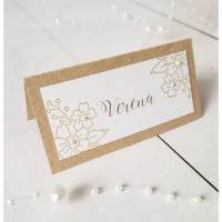 Tischkarte Platzkarte Namensschild Hochzeit Kommunion Konfirmation Firmung Taufe Kraftpapier Perle Blümchen Bild 1