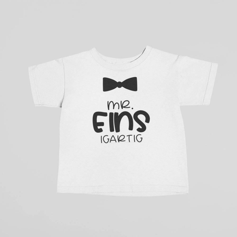Kinder T-Shirt zum 1. Geburtstag, Mr. EINSigartig Shirt für Kinder Bild 1