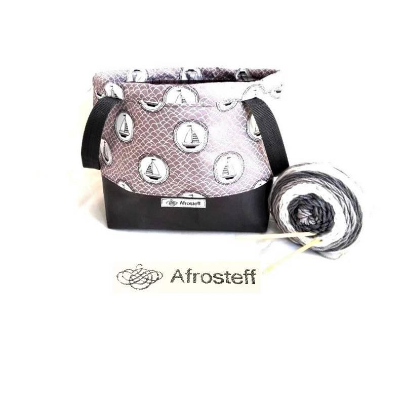 Handarbeitstasche XL, Projekttasche mit Kunstleder, Strickbeutel, Wolltasche Bild 1