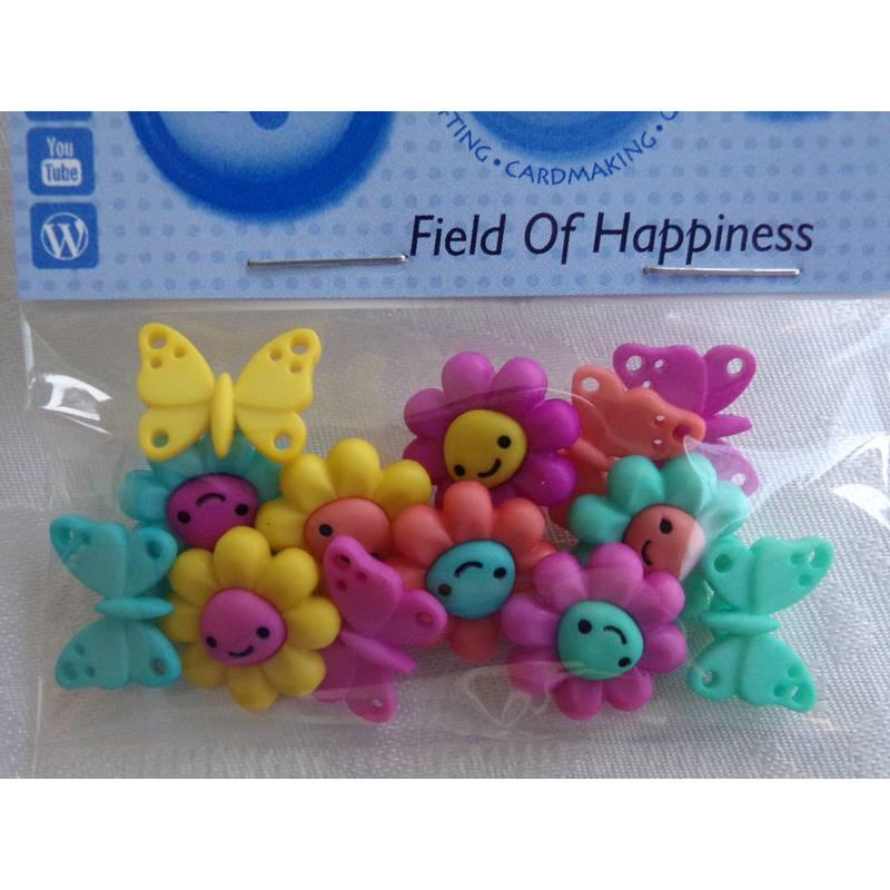 Dress it up Knöpfe    Blumen und Schmetterlinge  (1 Pck.)     Field Of Happiness  Bild 1
