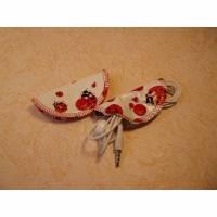 Kabelhalter, 2 Stück aus Wachstuch für Kopfhörer oder Ladekabel, mit Marienkäfermotiven Bild 1