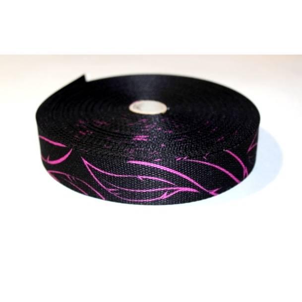 Gurtband Federn pink auf schwarz-30mm Bild 1