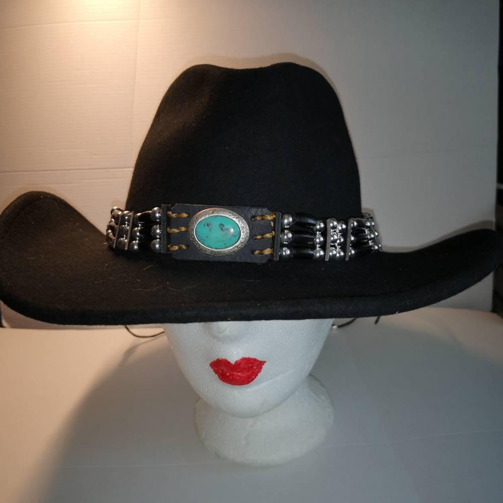 Hutband, oder als Choker zu tragen, mit türkisfarbenem Cabochon und schwarzen Hornpipes (HB 07) Bild 1