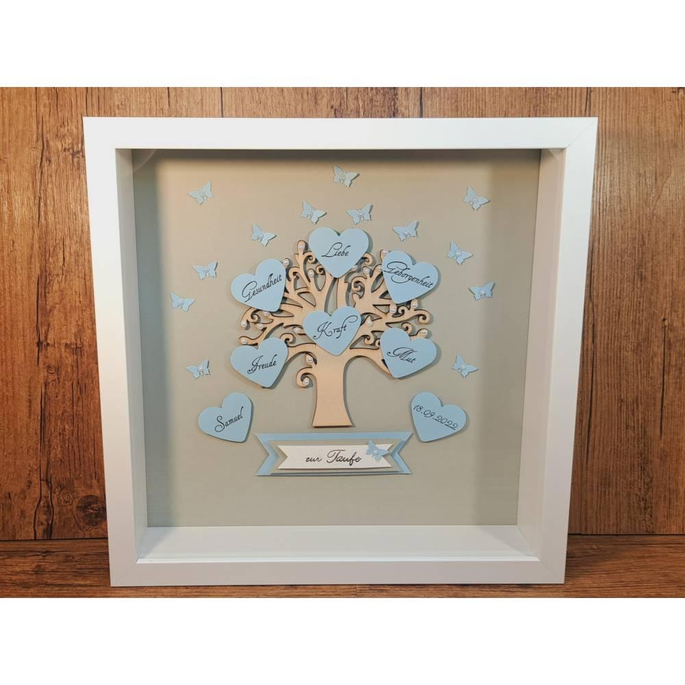 Taufgeschenk, Bilderrahmen, Lebensbaum zur Taufe, Junge, originelles Geschenk zur Taufe Bild 1