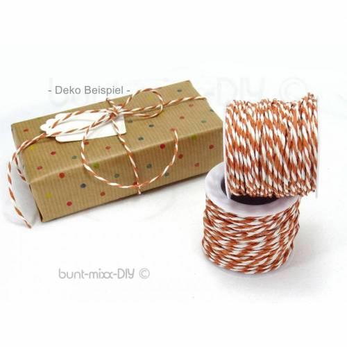 Papierkordel Geschenkband braun weiß, 2mm Papierschnur, Spule Rolle Kordel Band Schnur, copper brown white paper twine
