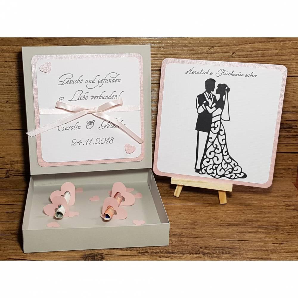 Geldgeschenk zur Hochzeit, personalisiert, Hochzeitsgeschenk, Geschenkset Bild 1