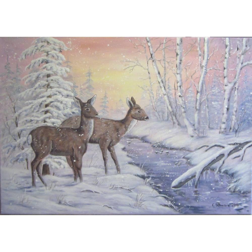 Acrylgemälde REHE AM BÄCHLEIN - Winterlandschaft Kunst Hirsch Bild Malerei Leinwand Winterbild 100cmx70cm Bild 1