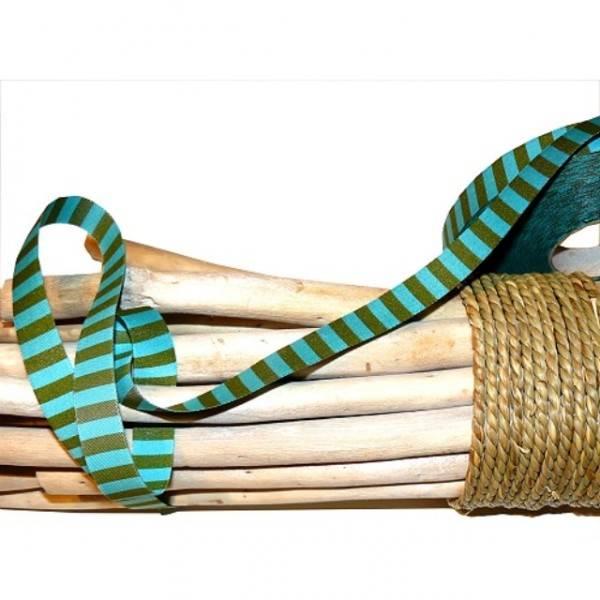 Webband Ringelband, türkis-grün Bild 1
