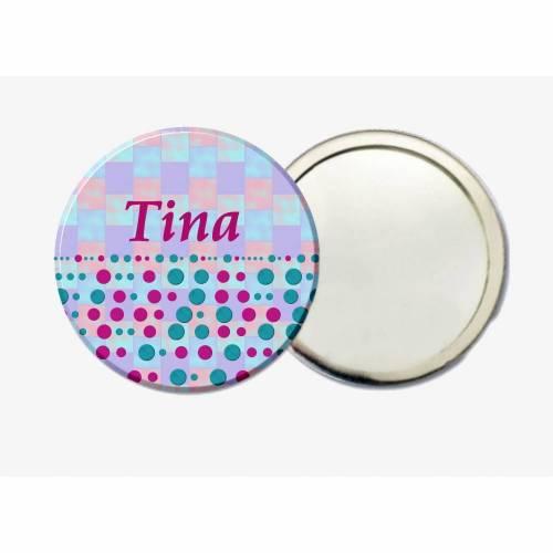 Handspiegel Taschenspiegel personalisiert, pink/türkis, Mitbringsel