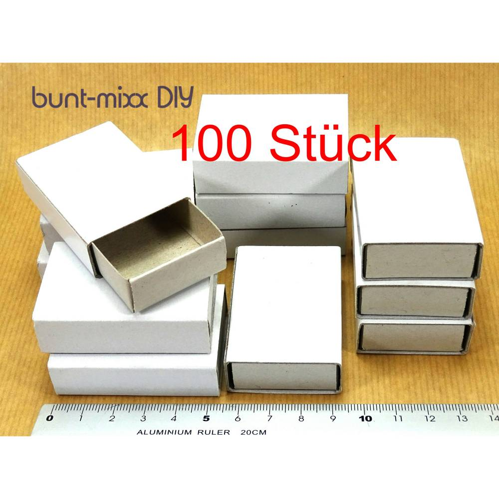 100 Mini-Schachteln, weiß, Schiebeschachteln, Basteln Scrapbooking, Aufbewahren, Gastgeschenk, Adventskalender diy Bild 1
