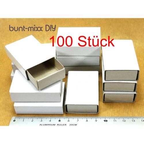 100 Mini-Schachteln, weiß, Schiebeschachteln, Basteln Scrapbooking, Aufbewahren, Gastgeschenk, Adventskalender diy
