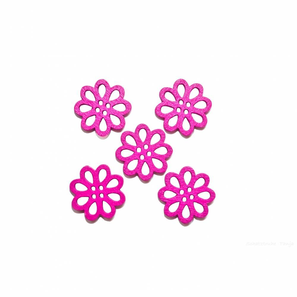 Kinderknöpfe Blüten als Holzknöpfe in lila 20 mm Bild 1