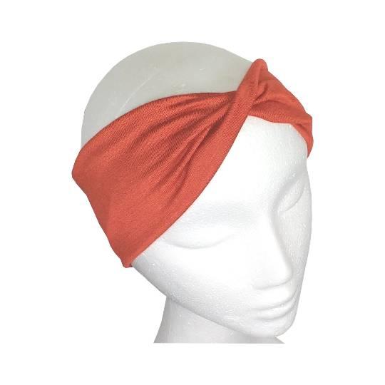 Stirnband ziegelot, Haarband, Yogaband, Haarband, gedrehtes Stirnband, Twisthaarband, Twiststirnband, Haarbänder, Stirnbänder, Sporthaarband, Sportstirnband Bild 1