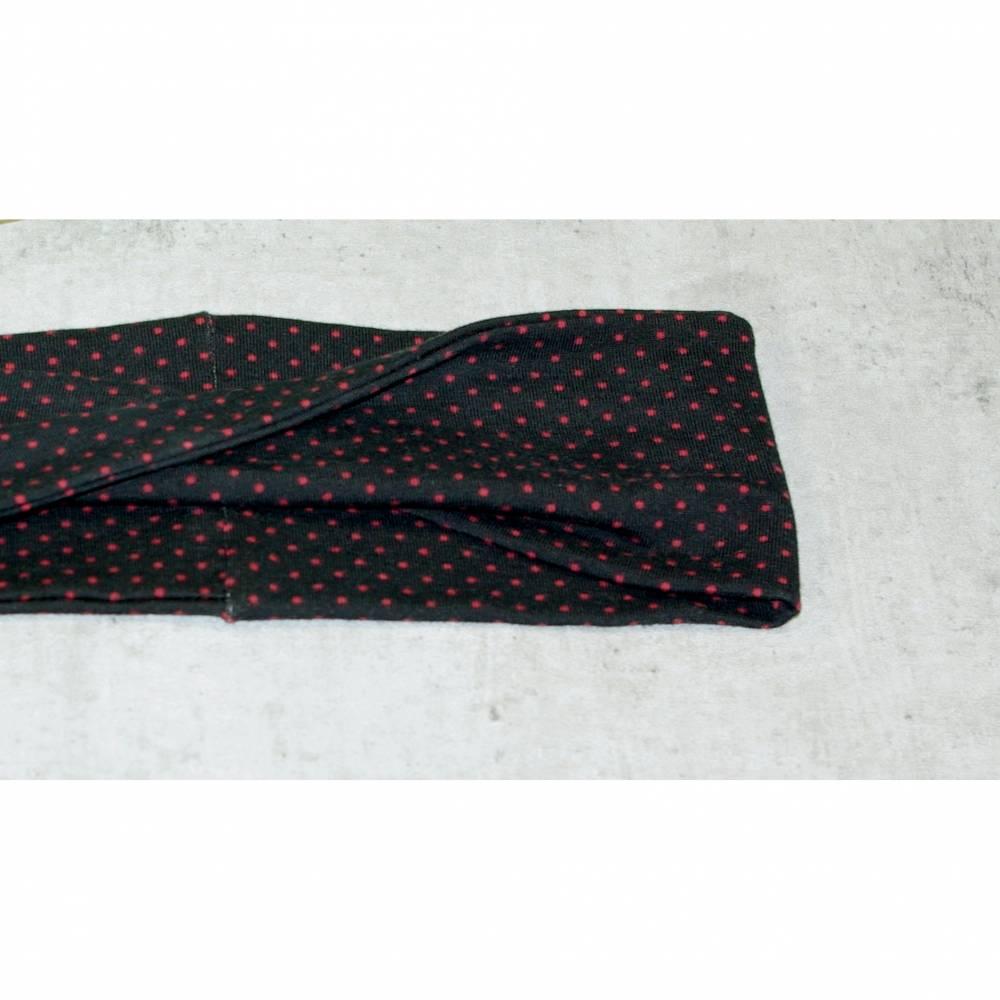 Stirnband schwarz rot gepunktet, Haarband, Yoga, Haarband, gedrehtes Stirnband, Jersey Haarband Punkte Bild 1