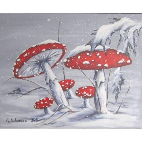 "Acrylgemälde ""Verschneite Fliegenpilze"" - Kunst Wandbild Pilze Bild Leinwand 50cmx40cm"