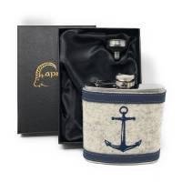 Flachmann Edelstahl 180 ml + Hülle bestickt mit Anker aus Wollfilz + Leder inkl. Geschenkbox - Farbauswahl Bild 1