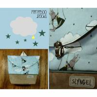 Kinderrucksack mit Namen, Kindergartenrucksack, Kindergartentasche, Geschenk für Jungen, Kinderrucksack mit Hasen, Superheld, Wolke, Sterne Bild 1