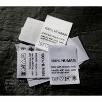 25 Textiletiketten 100% Human