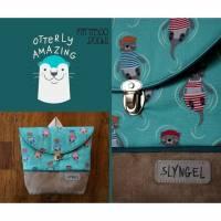 Kinderrucksack mit Namen, Kindergartenrucksack, Kindergartentasche, Geburtstagsgeschenk für Jungen, Kinderrucksack mit Ottern, maritim Bild 1