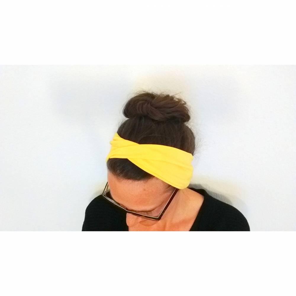 Stirnband gelb, Haarband, Yogaband, Haarband, gedrehtes Stirnband, gelbes Sporthaarband, Haarbänder, Stirnbänder, Twisthaarband, Twiststirnband Bild 1