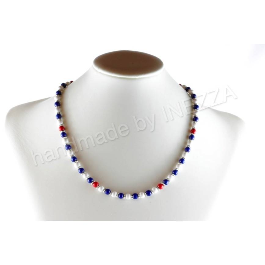 Perlenkette maritim Holzperlenkette blau weiß rot  Bild 1