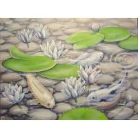 """Acrylgemälde """"Schimmernde Koi"""" - Fische  Kunst Bild Weiss Teich Acryl Original Malerei 80cmx60cm Bild 1"""