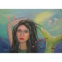Pretty Mermaid- Nixe Kunst Bild Unikat Original Portrait Acryl Deko 70cmx50cm Bild 1