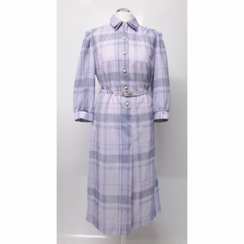 True Vintage Hemdblusenkleid Midikleid Kleid Größe L 42 Kariert Karo Flieder Pastell Lila Nostalgie Hauskleid 40er Look Bild 1