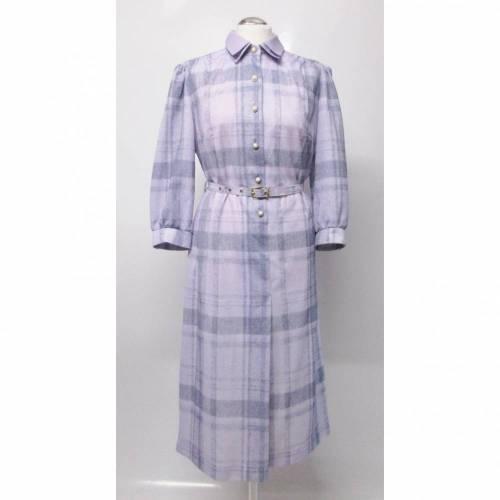 True Vintage Hemdblusenkleid Midikleid Kleid Größe L 42 Kariert Karo Flieder Pastell Lila Nostalgie Hauskleid 40er Look