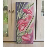 Exotische Flamingoblume - Kunst Anthurie Bild Deko Leinwand Kunstwerk Blume gemalt 30cmx70cm Bild 1