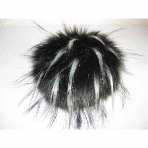 Kunstfell Bommel Pompon mit Strähnchen und Druckknopf - Schwarz Weiß