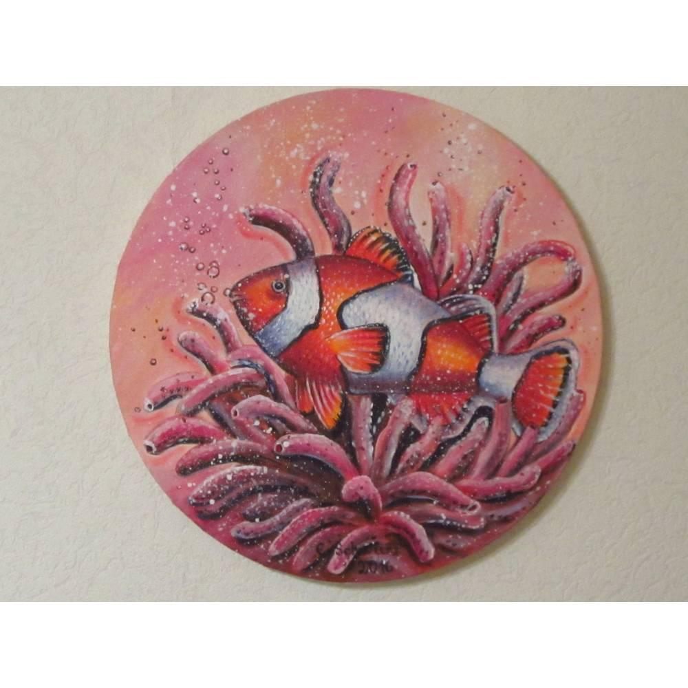 """Acrylgemälde """"CLOWNFISCH"""" runde Leinwand - Durchmesser 40cm Kunst Bild Fisch Original Malerei Bild 1"""