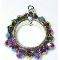 1 Anhänger Ring silberfarben lila  ohne Kette Bild 1