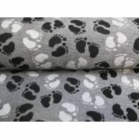 Jacquard Jersey, kleine Fußabdrücke, schwarz - weiß (1m/10,-€) Bild 1