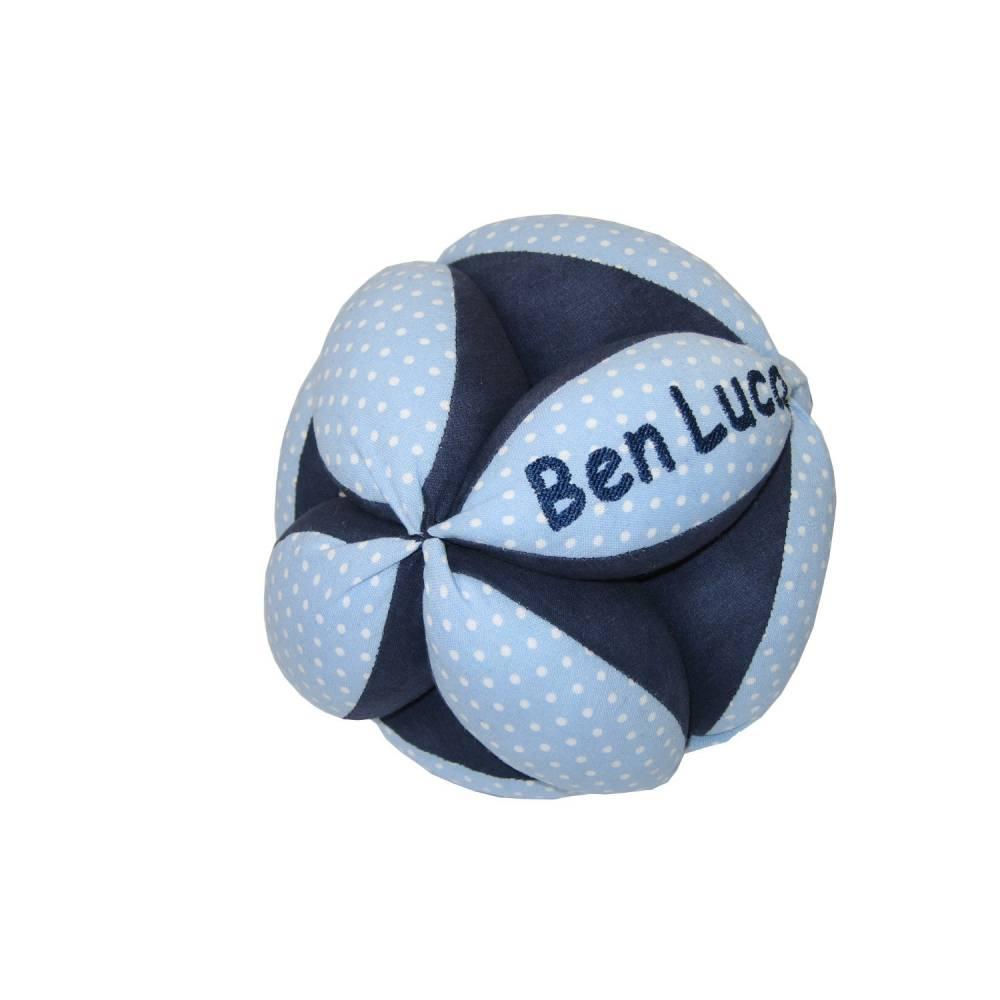 personalisierter Greifball mit Rassel, blau Bild 1
