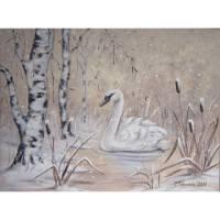 "Acrylgemälde ""Verträumte Winterwelt mit Schwan""  -  Kunst Bild Malerei Natur 80cmx60cm Bild 1"